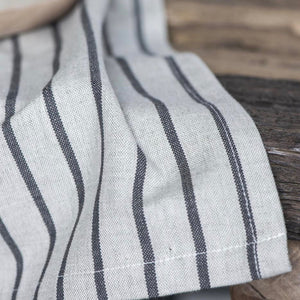 Natural beige tea towel with charcoal stripes