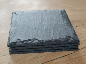 Set of four Welsh slate coasters with dressed edges