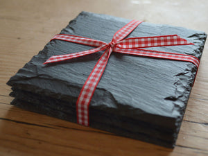 Welsh slate coasters tied with gingham ribbon
