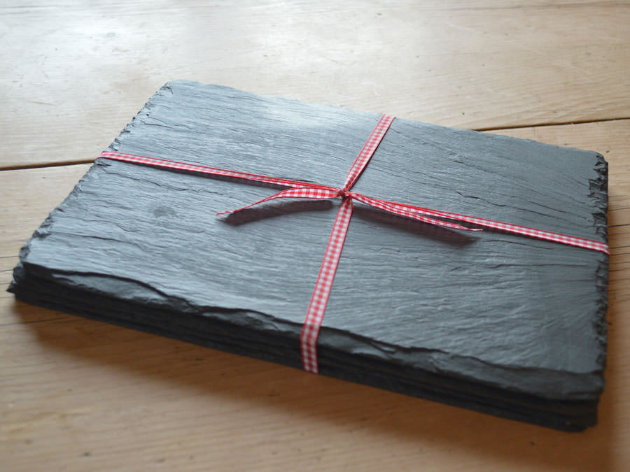 Set of Welsh slate placemats with natural finished edge