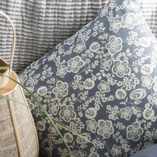 Load image into Gallery viewer, Blue and Cream Floral Cushion