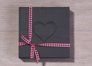Welsh slate heart engraved coasters tied with gingham ribbon