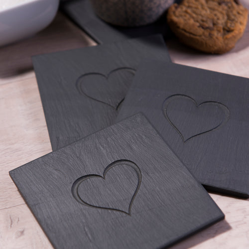 Heart Engraved Welsh Slate Coasters