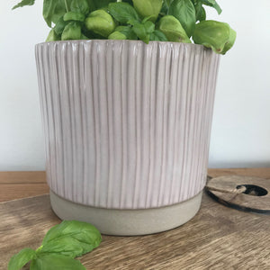 Plant Pot with grooves on side in dusky pink