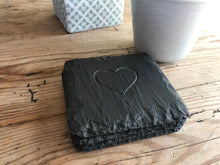 Load image into Gallery viewer, Set of Welsh slate coasters engraved with a heart