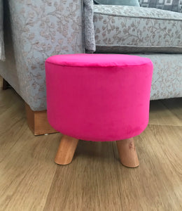 Hot Pink Velvet Footstool
