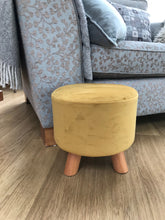 Load image into Gallery viewer, Mustard Velvet Footstool