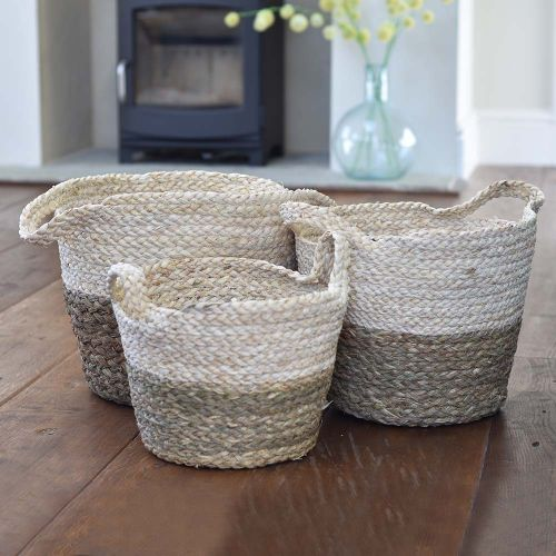 Natural Two Tone Seagrass Baskets