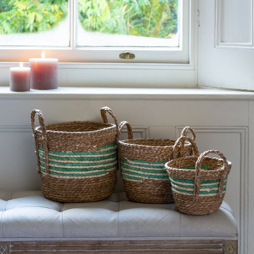 Set of Three Green Striped Straw And Corn Baskets