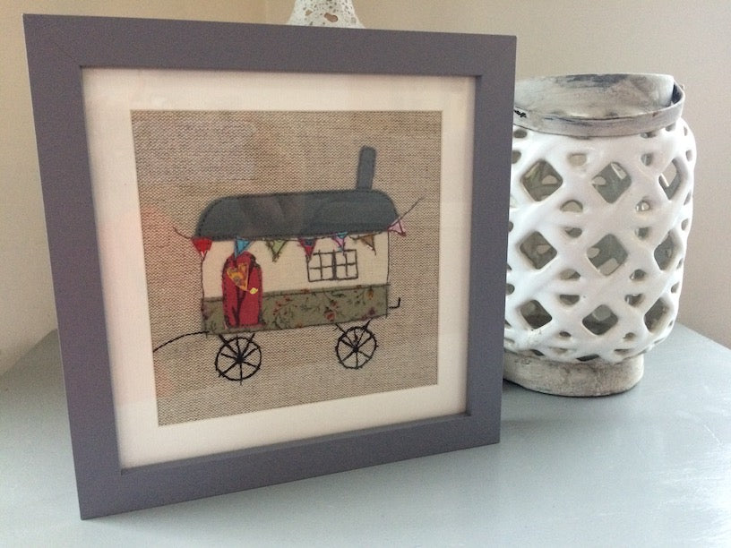 Handmade textiles picture of a Shepherd's Hut