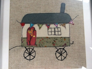 Shepherd's hut textile framed picture.