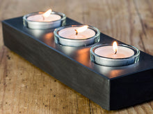Load image into Gallery viewer, Welsh slate tealight holder with three glass cups.