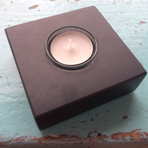 Welsh slate square single tealight holder