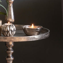 Load image into Gallery viewer, Handmade metal candle holder with a slightly imperfect rim and antique gold finish