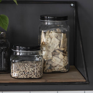 Glass Storage Jar with Black Lid