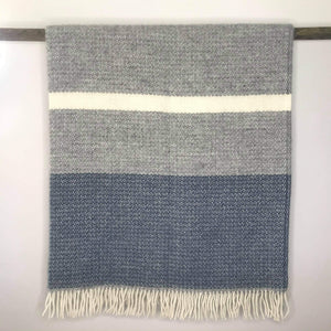 Grey and Blue Slate Woollen Throw