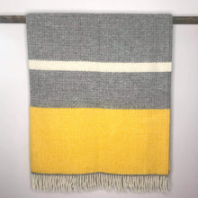 Load image into Gallery viewer, Pure New Wool Illusion Panel Throw in Yellow and Grey