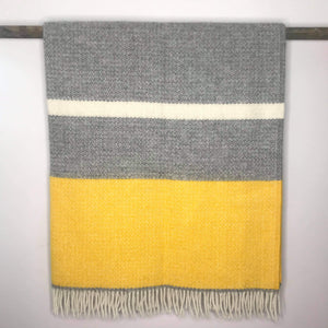 Pure New Wool Illusion Panel Throw in Yellow and Grey