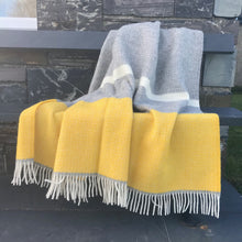 Load image into Gallery viewer, Yellow and Grey Panel Pure New Wool Throw