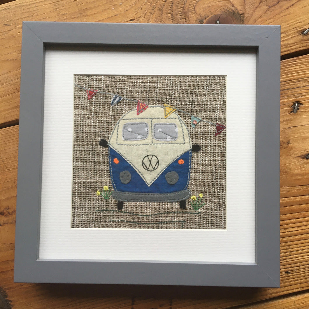 Framed blue VW Camper van applique