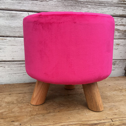 Small Hot pink velvet footstool with wooden legs