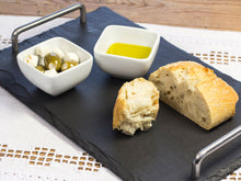 Load image into Gallery viewer, Large Welsh slate cheeseboard with stainless steel handles