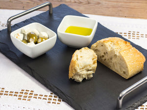 Large Welsh slate cheeseboard with stainless steel handles