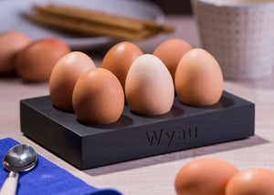 'Wyau' engraved egg tray from Welsh slate holds up to six eggs