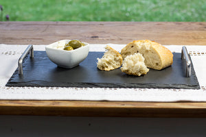 Welsh slate serving platter with stainless steel handles