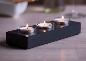 Three tealight holder handmade from Welsh slate and glass cups.