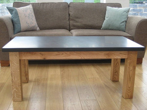 Polished Welsh slate and oak coffee table