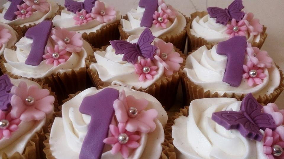 Butterfly and number cupcakes