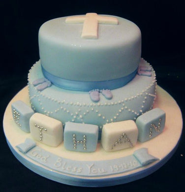 2 Tier flat cross and blocks cake