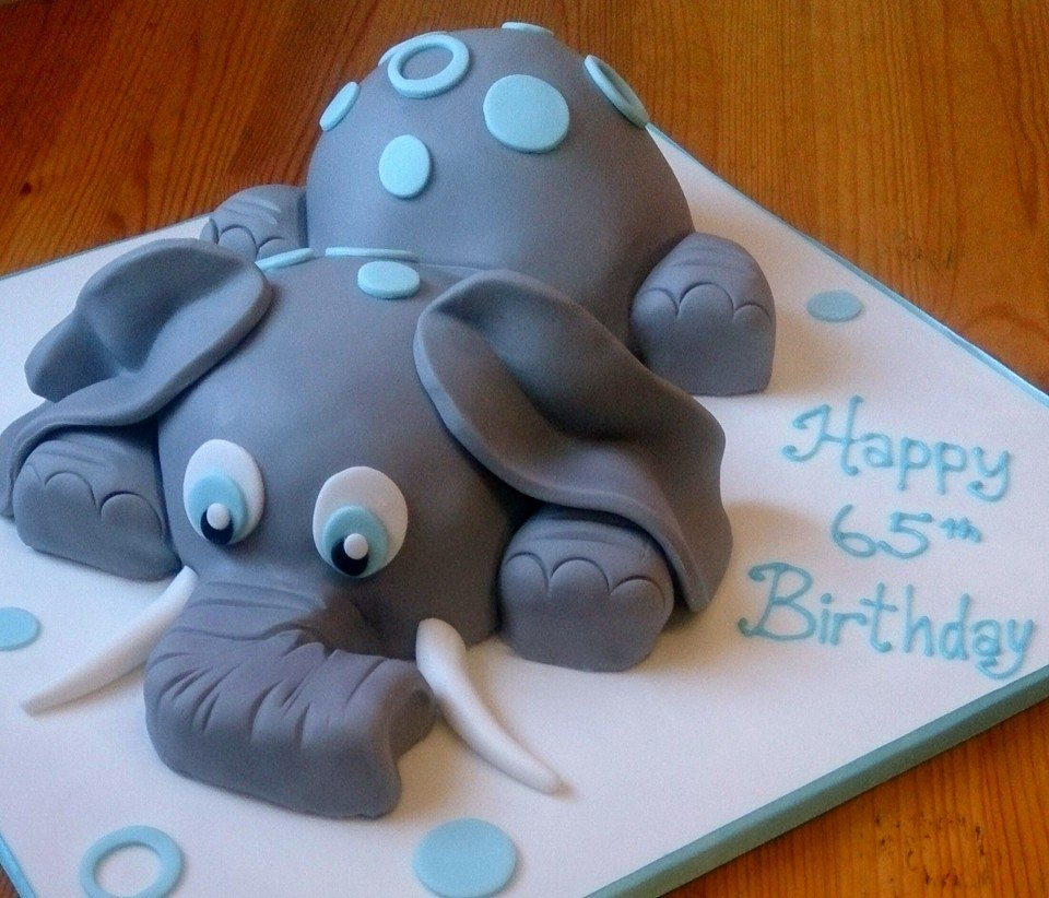 3D laying down Baby elephant cake