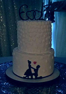 2 Tier proposal silhouette engagement cake