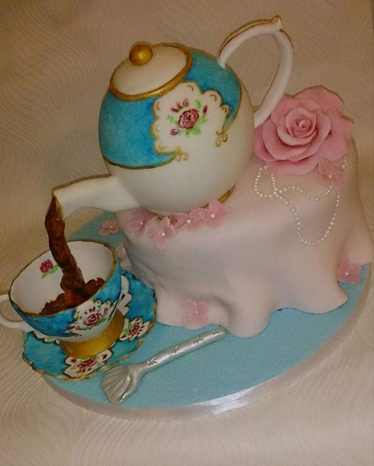 Afternoon tea pouring teapot cake