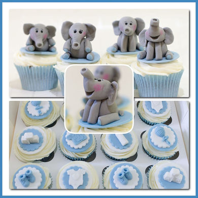 Baby shower cupcakes and baby elephant cupcakes