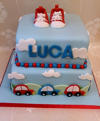 Baby trainers and cars cake