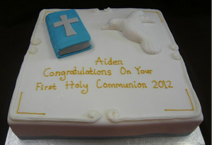 Bible and dove square cake