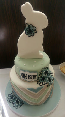 2 tier flat 3D bunny baby shower cake
