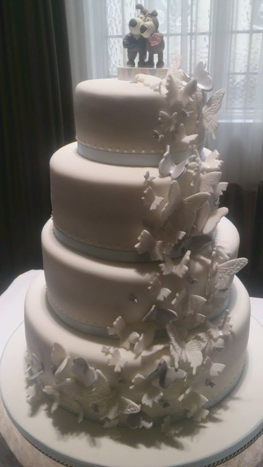 Butterfly cascade wedding cake