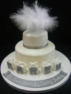 Feathers and blocks cake