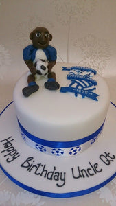Football logo and person cake