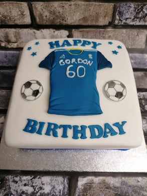 Football shirt on square cake