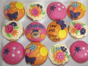 Bright teddy and butterfly cupcakes