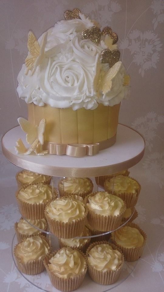 Gold Butterflies and hearts Giant Cupcake and gold cupcakes