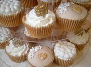 Gold hearts Giant Cupcake and cupcakes