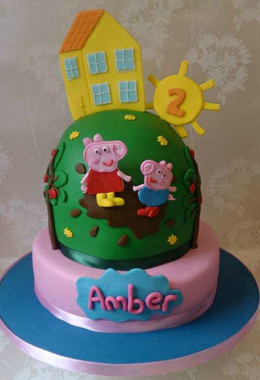 Peppa and George pig on the hill