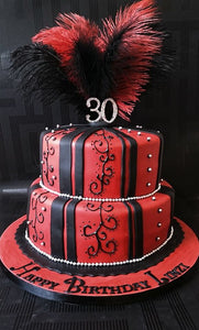 Red and black feather 2 tier