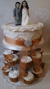 "Vintage 8"" and cupcake tower"